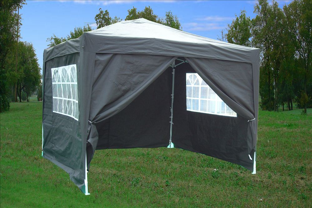 10 x 10 Easy Pop Up Tent Canopy - Black & 10 x 10 Easy Pop Up Tent Canopy w/ 4 Sidewalls - 12 Colors