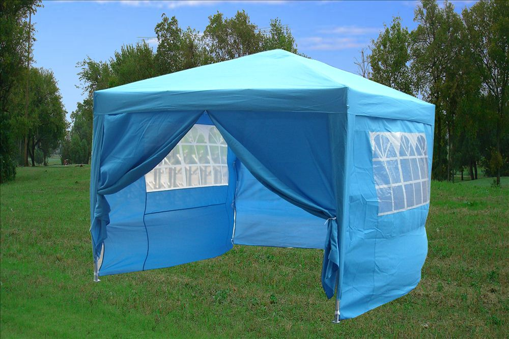 10 x 10 Easy Pop Up Tent Canopy w/ 4 Sidewalls - 12 Colors