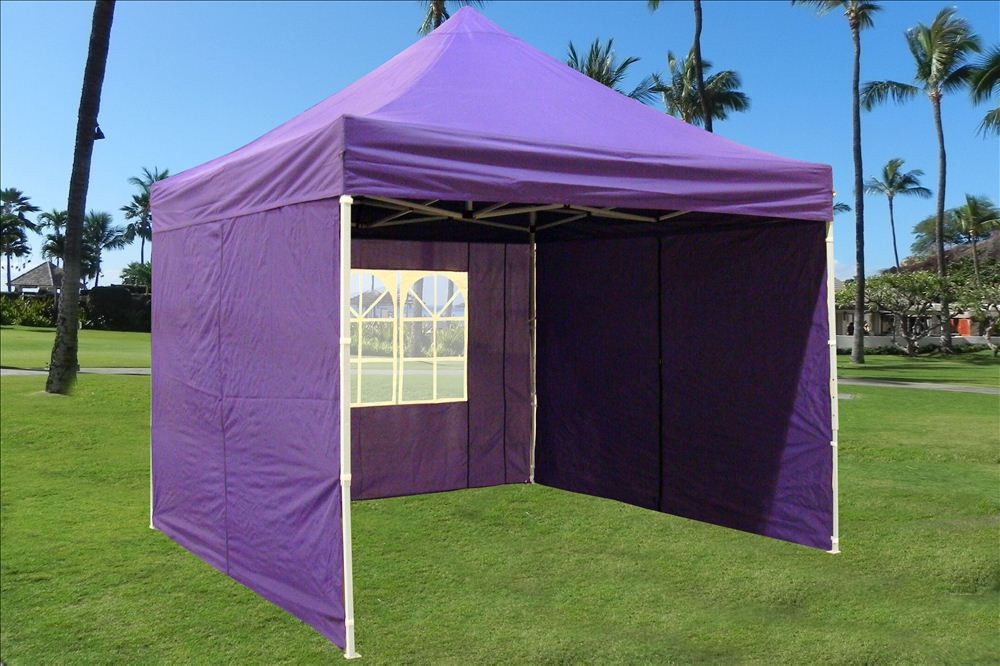 10 x 10 Easy Pop Up Tent Canopy - Purple - 2 & 10 x 10 Easy Pop Up Tent Canopy w/ 4 Sidewalls - 12 Colors