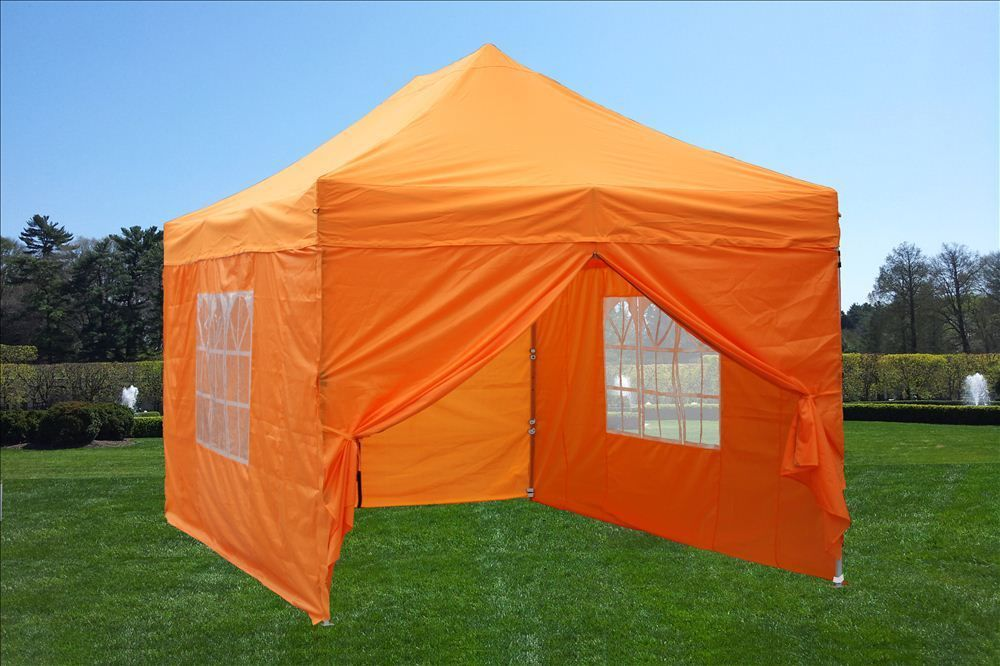 10 x 15 Orange Pop Up Tent & 10 x 15 Easy Pop Up Tent Canopy - 5 Colors -