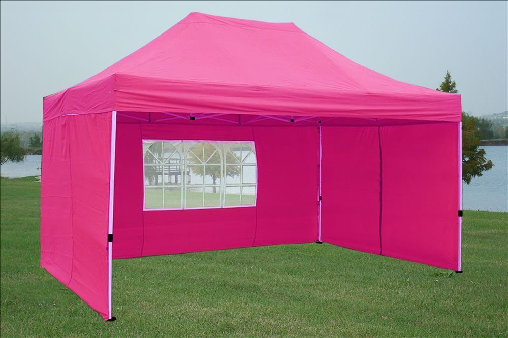 10 x 15 Pink Pop Up Tent 2 & 10 x 15 Easy Pop Up Tent Canopy - 5 Colors -