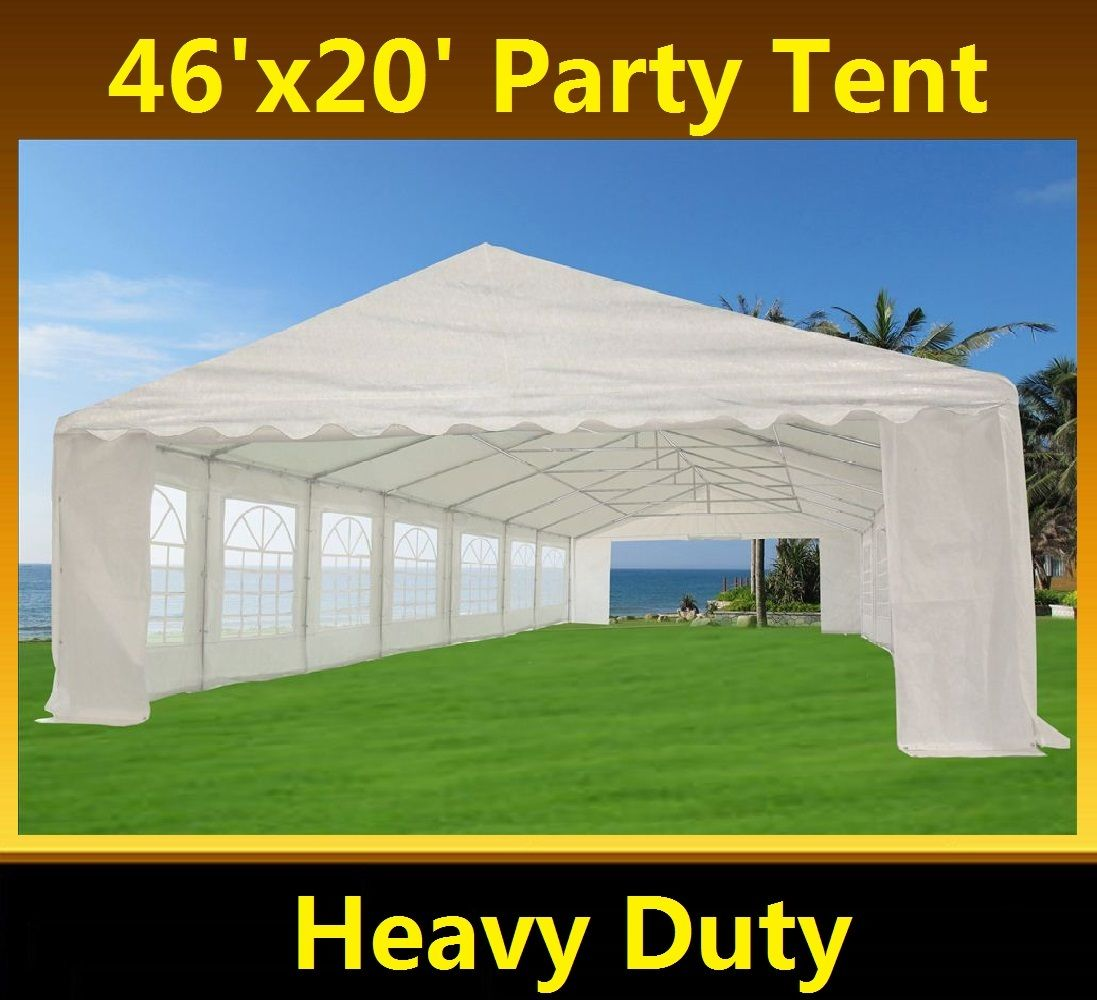 46 x 20 White PE Tent 2  sc 1 st  Wholesale Event Tents & 46 x 20 Heavy Duty White Party Tent Gazebo Canopy -