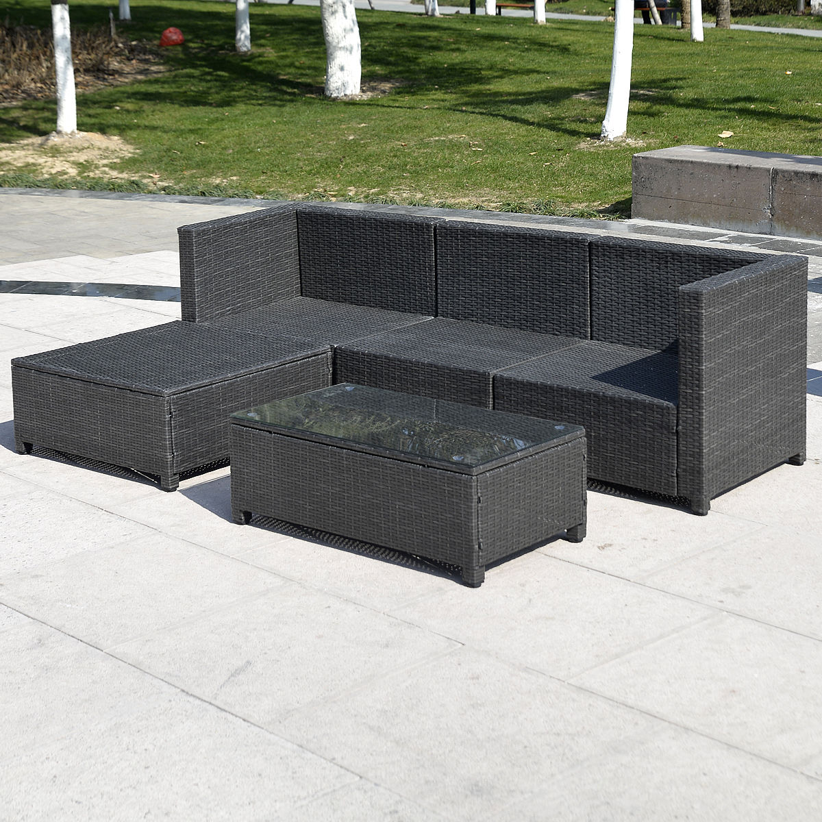 Outdoor Patio Wicker Sofa Set 5pc Pe Rattan