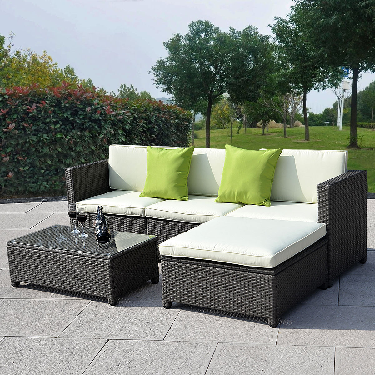 Outdoor patio wicker sofa set 5pc pe rattan for Outdoor garden set
