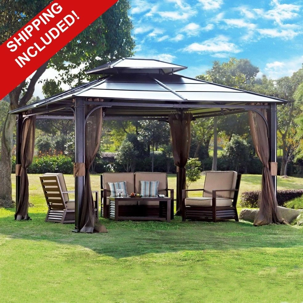 10 x 12 hardtop canopy gazebo w mosquito netting. Black Bedroom Furniture Sets. Home Design Ideas
