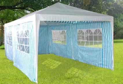 & 10 x 20 Blue u0026 White Striped Gazebo Party Tent Canopy