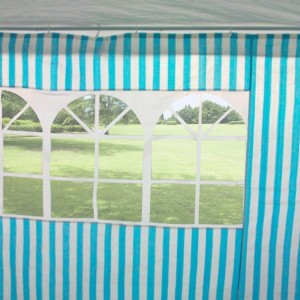 10 x 30 Blue & White Striped Gazebo Wall