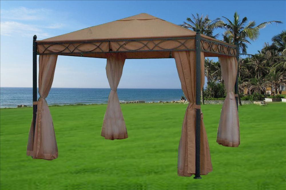 10 x 10 Beige Gazebo Canopy & Gazebos - Outdoor Patio Canopy Cover Shelter
