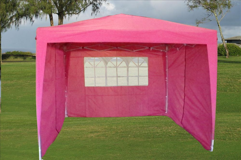 10 x 10 Easy Pop Up Tent Canopy 2 - Pink & 10 x 10 Easy Pop Up Tent Canopy w/ 4 Sidewalls - 12 Colors