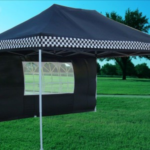 10 x 15 Black Checker Pop Up Tent 2