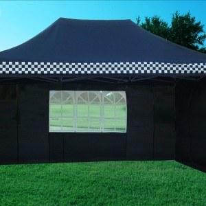 10 x 15 Black Checker Pop Up Tent 3