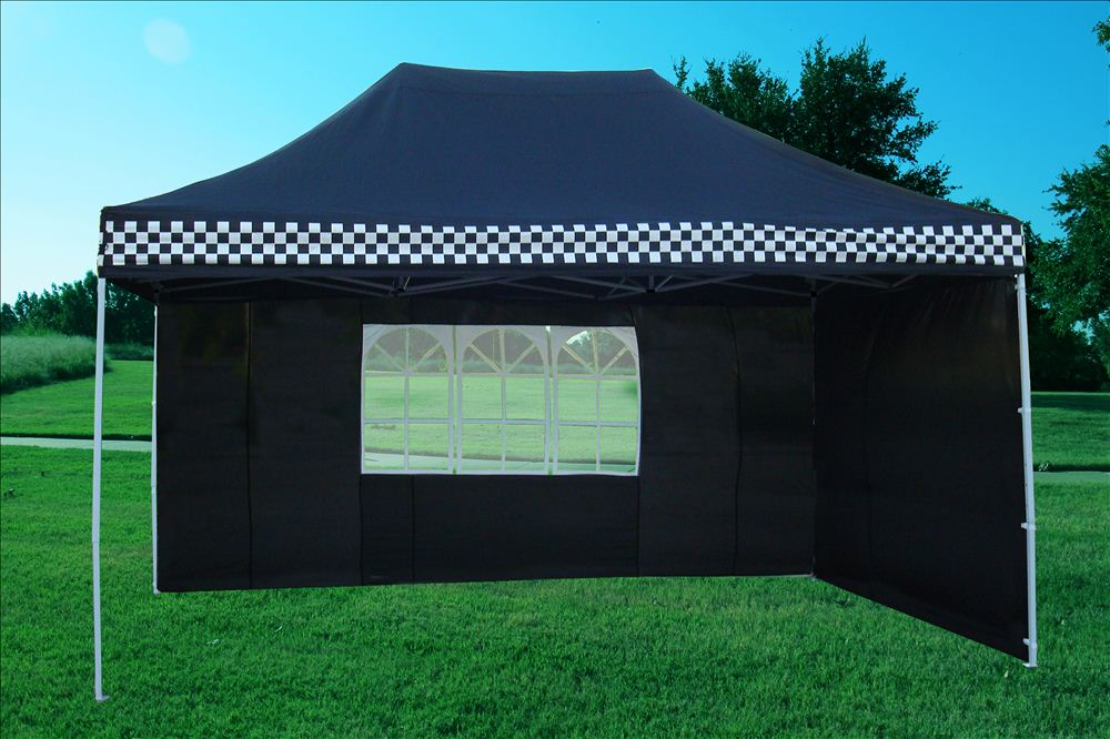10 x 15 Black Checker Pop Up Tent 3 & 10 x 15 Black Checker Pop Up Tent -