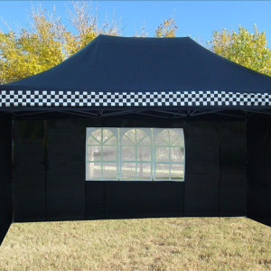 10 x 15 Black Checker Pop Up Tent