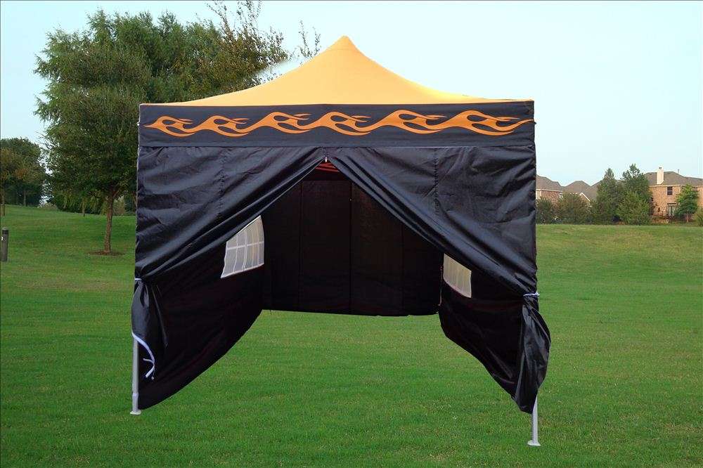 10 x 15 Flame Pop Up Tent Orange & 10 x 15 Flame Pop Up Tent Canopy - 4 Colors