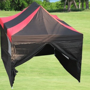 10 x 15 Black & Red Pop Up Tent Red