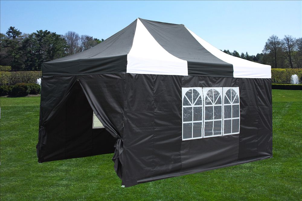 10 x 15 White u0026 Black Pop Up Tent White & 10 x 15 Striped Pop Up Tent - 6 Colors -