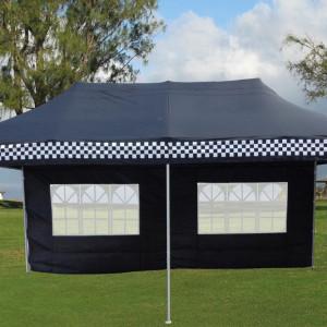 10 x 20 Black Checker Pop Up Tent 2