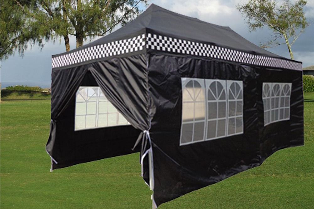 10 x 20 black checker pop up tent canopy gazebo. Black Bedroom Furniture Sets. Home Design Ideas