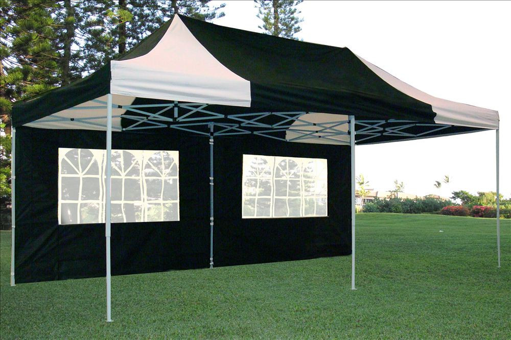 new product b6bd1 9d4dc 10 x 20 Black and White Pop Up Tent Canopy Gazebo