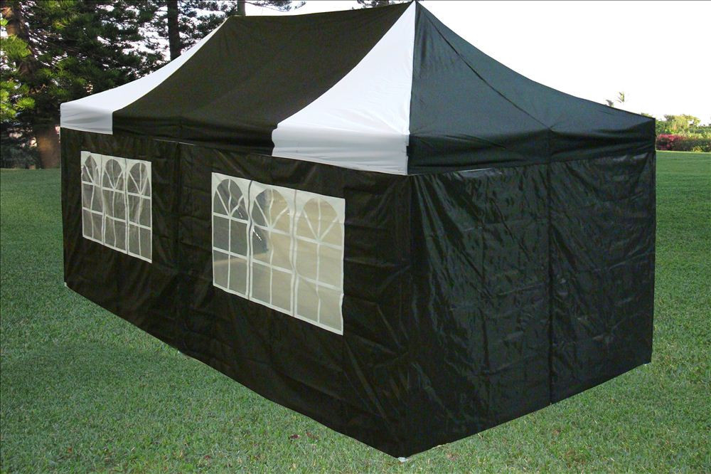 10 X 20 Black And White Pop Up Tent Canopy Gazebo