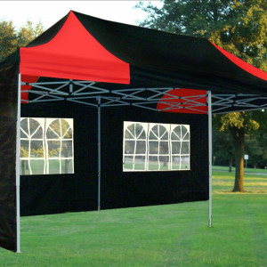 10 x 20 Black and Red Pop Up Tent 2