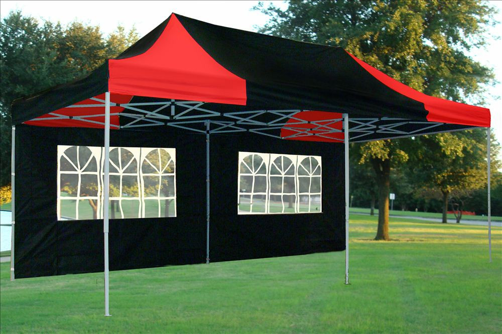 10 X 20 Black And Red Pop Up Tent 3