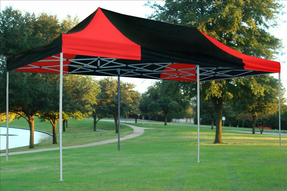 10 X 20 Black And Red Pop Up Tent Canopy Gazebo