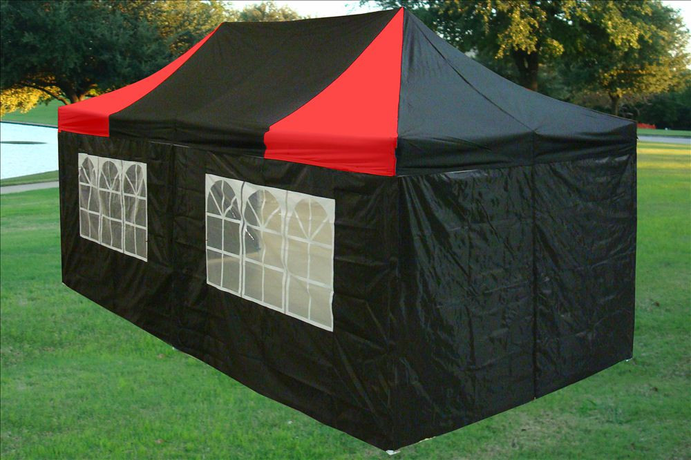 10 x 20 Black and Red Pop Up Tent Canopy Gazebo : ez tent canopy - memphite.com