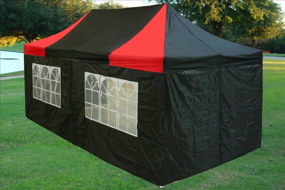 10 x 20 Black and Red Pop Up Tent Canopy Gazebo & 10 x 10 EZ Pop Up Canopy Tent Gazebo