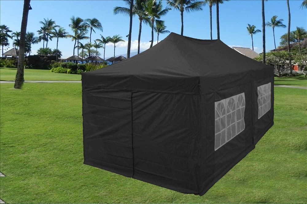 10 x 20 Black Pop Up Tent Canopy Gazebo 2 & 10 x 20 Pop Up Tent Canopy Gazebo w/ 6 Sidewalls - 9 Colors -