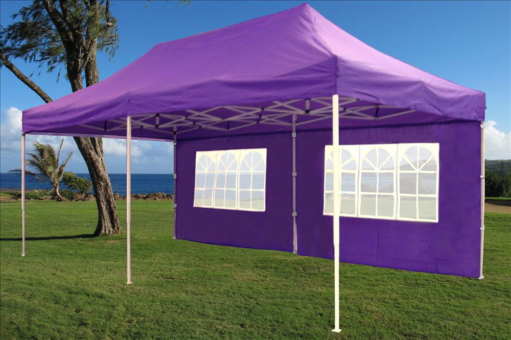 10 x 20 Purple Pop Up Tent Canopy Gazebo2 & 10 x 20 Pop Up Tent Canopy Gazebo w/ 6 Sidewalls - 9 Colors -