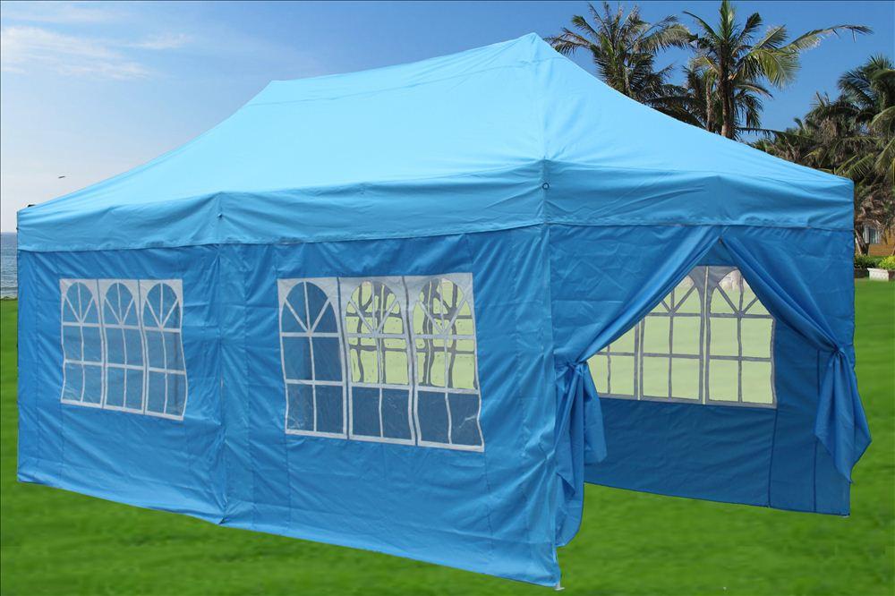10 X 20 Pop Up Tent Canopy Gazebo W 6 Sidewalls 9 Colors