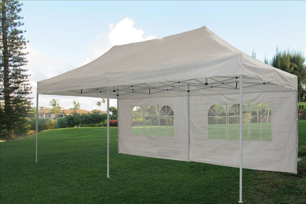 10 x 20 White Pop Up Tent Canopy Gazebo 2 & 10 x 20 Pop Up Tent Canopy Gazebo w/ 6 Sidewalls - 9 Colors -