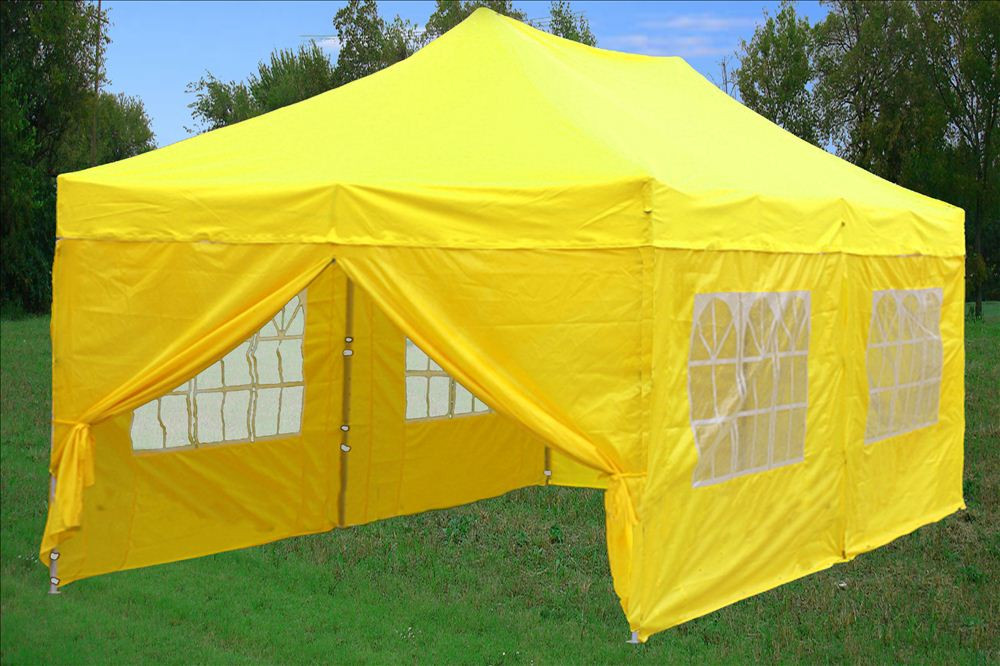 10 x 20 Yellow Pop Up Tent Canopy Gazebo & 10 x 20 Pop Up Tent Canopy Gazebo w/ 6 Sidewalls - 9 Colors -