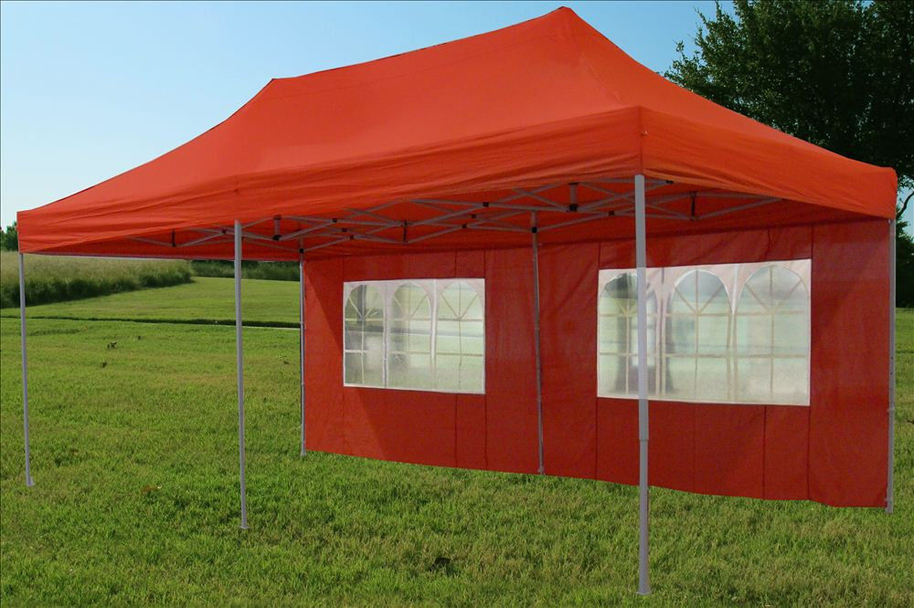 10 x 20 Red Pop Up Tent Canopy Gazebo 3 & 10 x 20 Pop Up Tent Canopy Gazebo w/ 6 Sidewalls - 9 Colors -