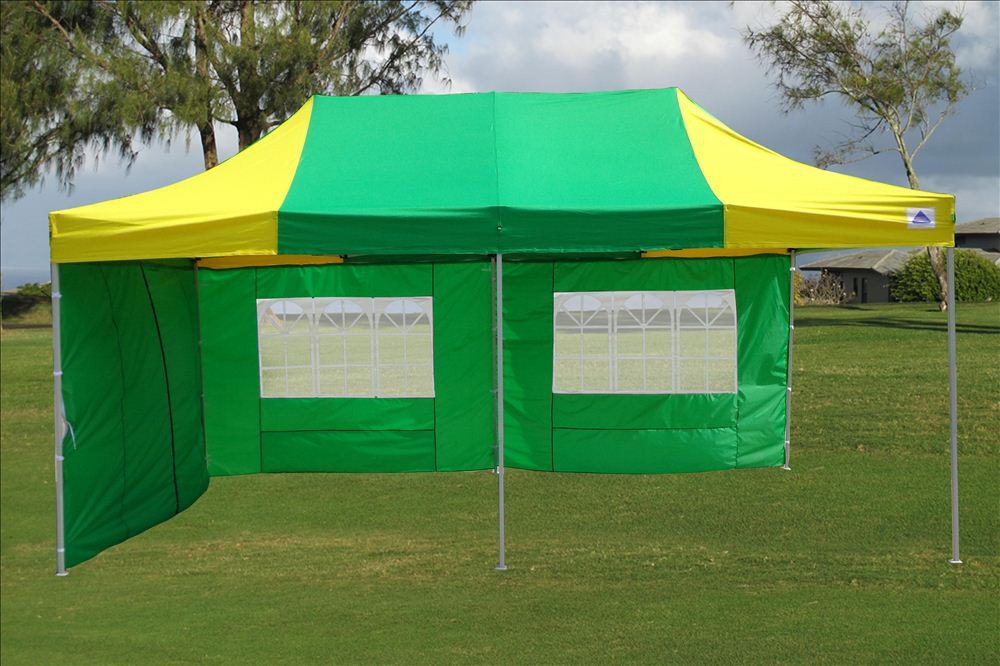 10 X 20 Yellow And Green Pop Up Tent Canopy Gazebo