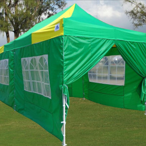 10 x 20 Yellow and Green Pop Up Tent