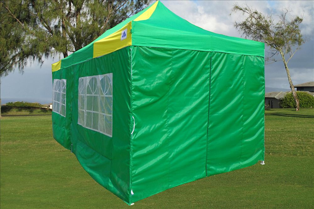 10 x 20 Yellow and Green Pop Up Tent 4 & 10 x 20 Yellow and Green Pop Up Tent Canopy Gazebo -