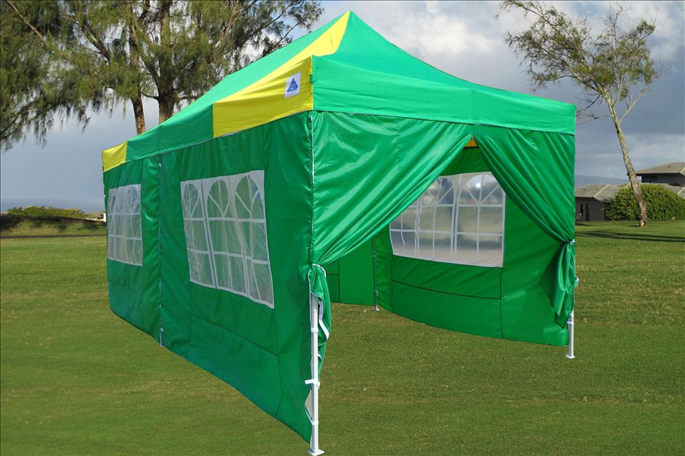10 x 20 Yellow and Green Pop Up Tent & 10 x 20 Yellow and Green Pop Up Tent Canopy Gazebo -