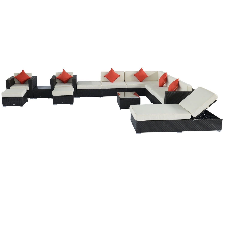 14 Piece Outdoor Wicker Sectional Sofa Patio Set