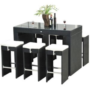 7 Piece Wicker Bar Dining Set 3