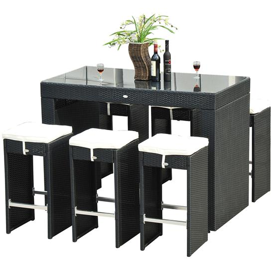 7 piece wicker bar dining set stool table. Black Bedroom Furniture Sets. Home Design Ideas