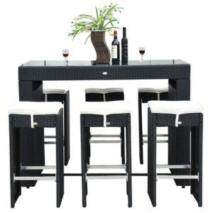 7 Piece Wicker Bar Dining Set