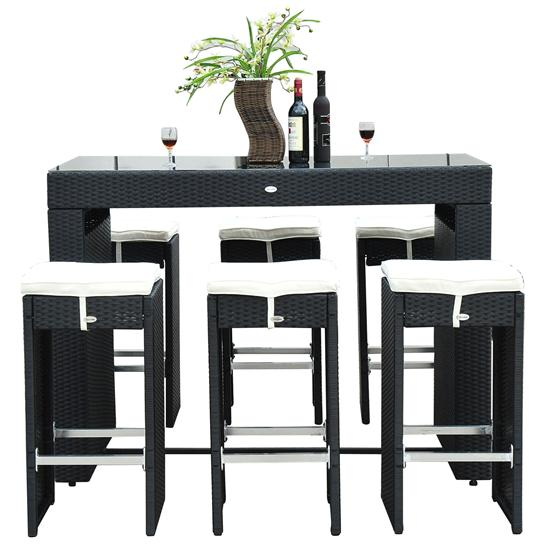 7 Piece Wicker Bar Dining Set Stool Table