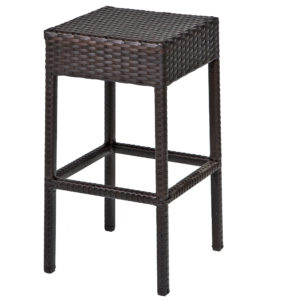7 Piece Black Wicker Dining Bar Set with Glass Top 3
