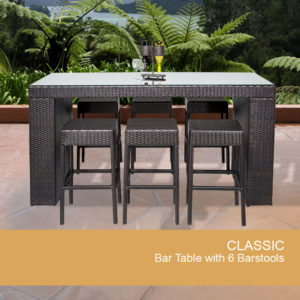 7 Piece Black Wicker Dining Bar Set with Glass Top