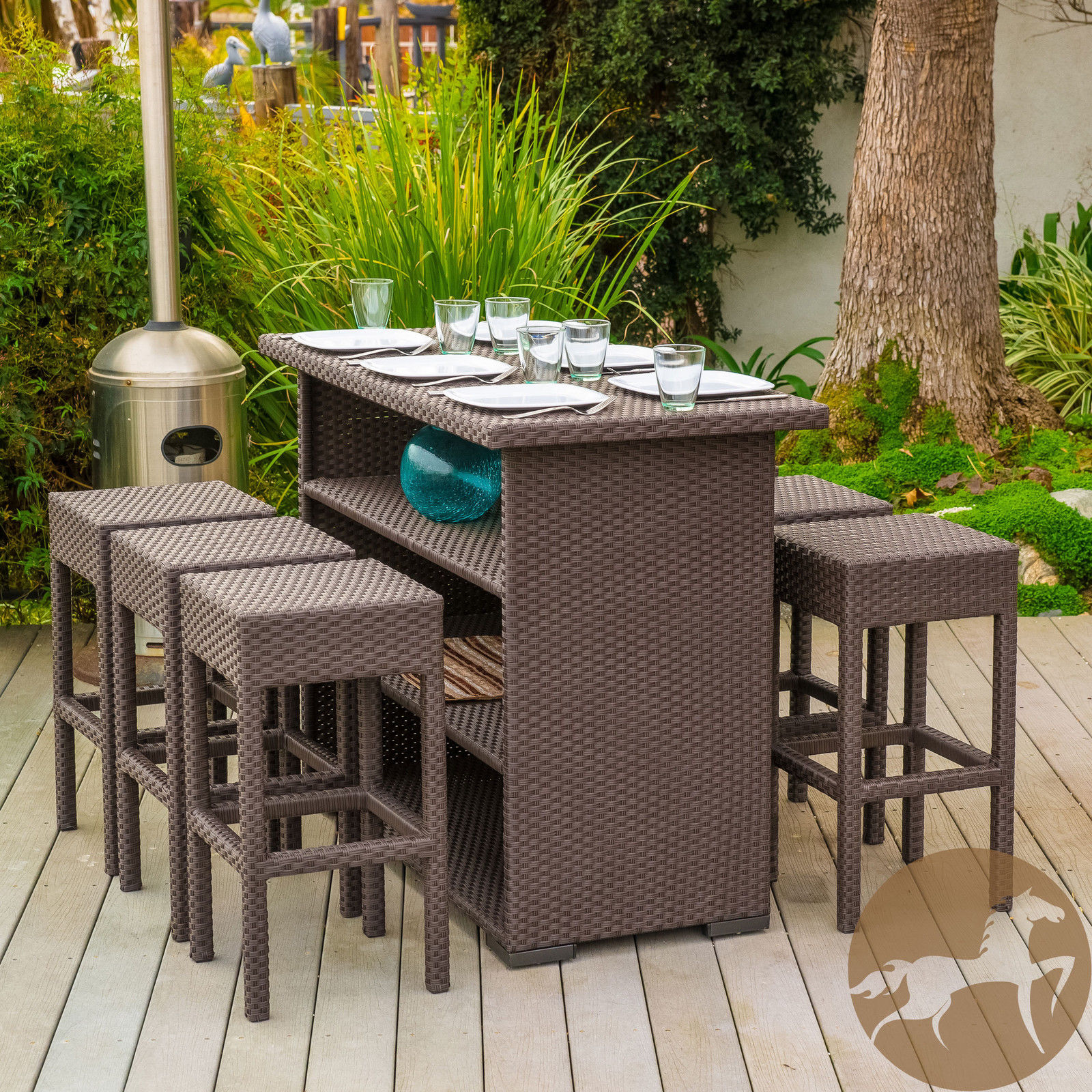 7 Piece Brown Wicker Dining Bar Set