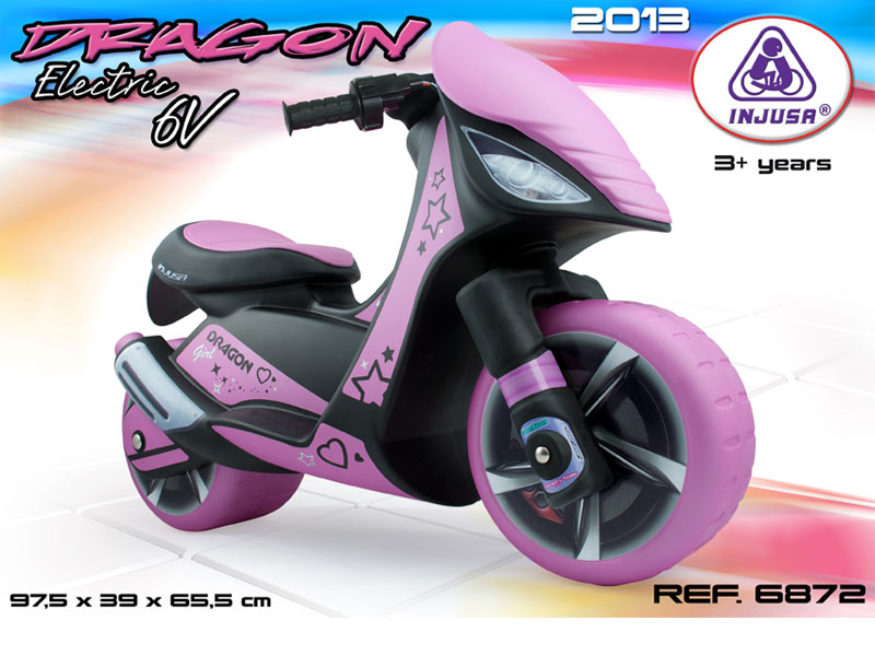 Battery Operated Ride On Toys >> Injusa Dragon Scooter 6v Power Wheel Pink