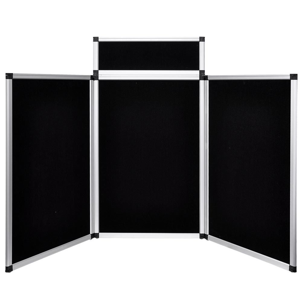 6 Ft 3 Panel Trade Show Display With Header Blue Amp Black