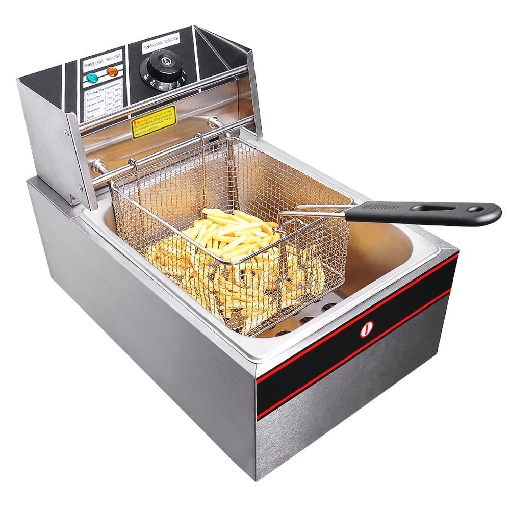 6 Liter Commercial Deep Fryer Stainless Steel Electric